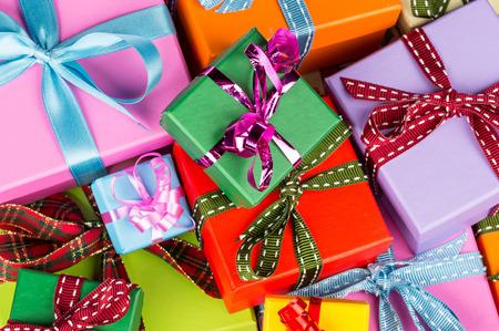 stack of gift boxes white background Standard-Bild