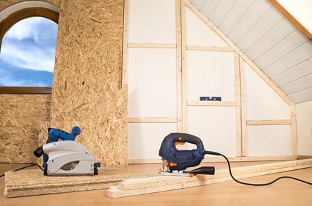 build buzz: interior contruction in a modern house Stock Photo