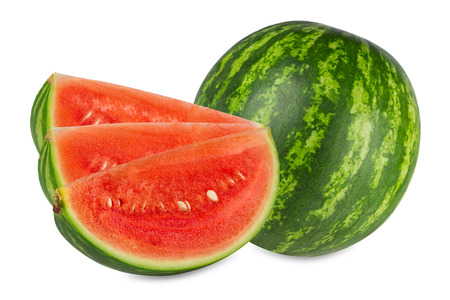 consciously: a fresh watermelon in front of white background