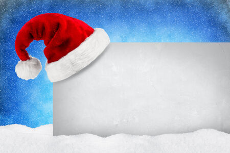 empty wall with christmas decorations and snow Stock Photo
