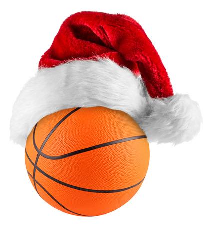 santa hat on basketball on white background photo
