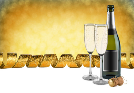 bottle of champagne glasses and cork in front of golden background Stock Photo - 26055075
