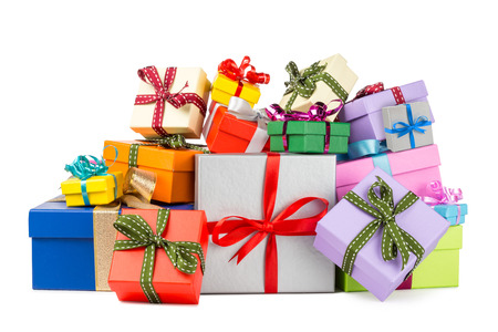 birthday present: stack of colorful gift boxes Stock Photo