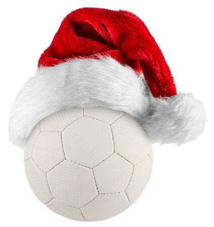 kerstmuts op handbal op een witte achtergrond