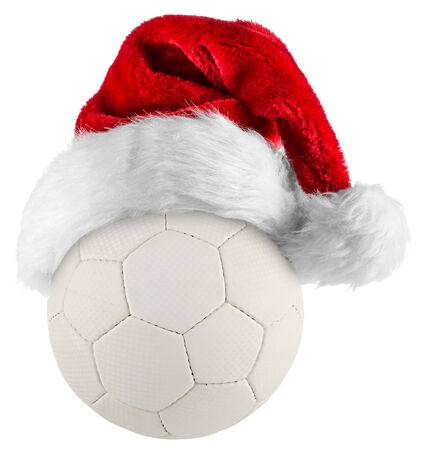 santa hat on handball on white background