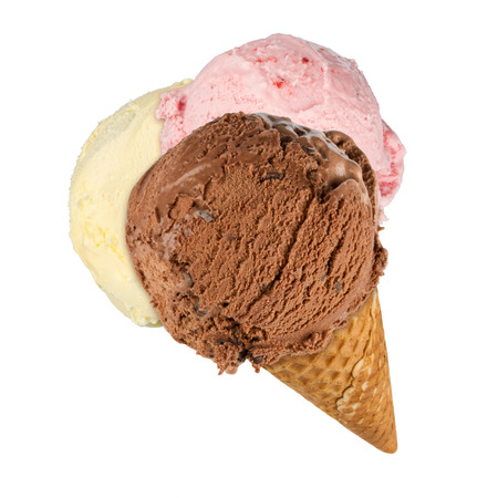 leis: ice cream cone with 3 different ice creams