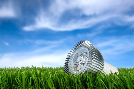 green light: led buld on grass in front of blue sky