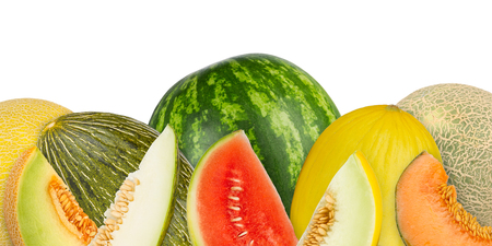 collage of different melon tyes on white background photo