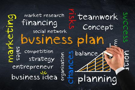 financing: business plan on chalk board