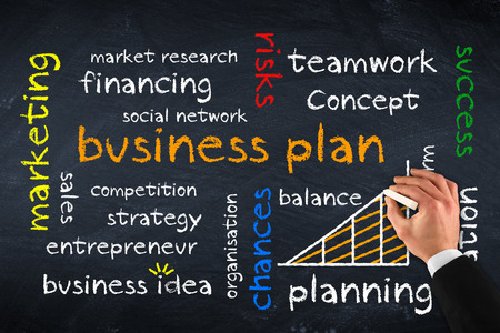 business plan op krijtbord Stockfoto
