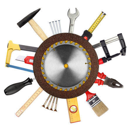 collage of tools in front of white background photo
