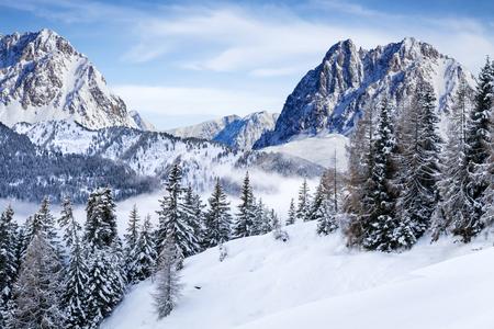 neve meraviglioso paesaggio di montagna