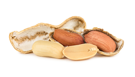 isoliert: open peanut with kernels Stock Photo