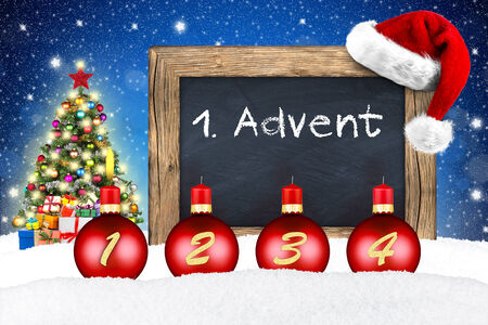 xmas advent backgound with chalkboard in snow photo