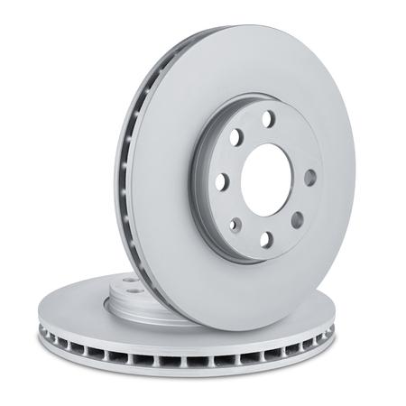 pair of car brake discs on white background photo