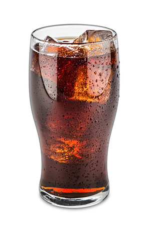glas of cola on white background Standard-Bild