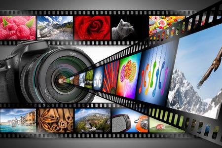 dslr camera: dslr camera with film strips