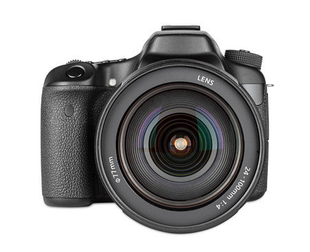 dslr camera with zoom lens mounted Banque d'images