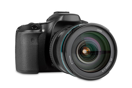 dslr camera with zoom lens mounted Stock Photo