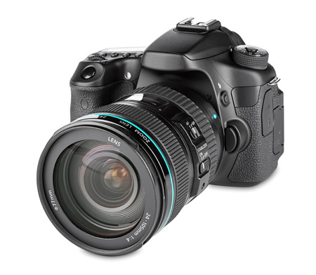 dslr camera with zoom lens mounted Stockfoto