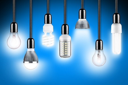 row of different types of glowing light bulbs