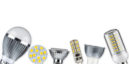 power of savings: different led light bulbs Stock Photo
