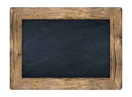 little blackboard with wooden frame in front of white background