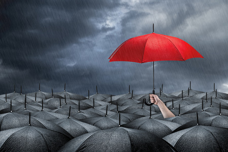 red umbrella in mass of black umbrellas