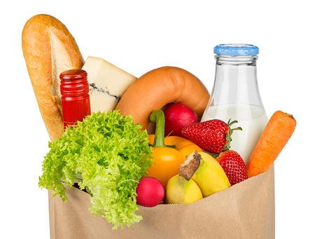 shopping bag filled with food photo
