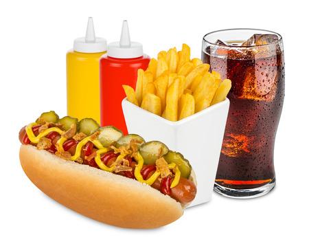 perro caliente: Menú del perrito caliente con patatas fritas y refresco de cola