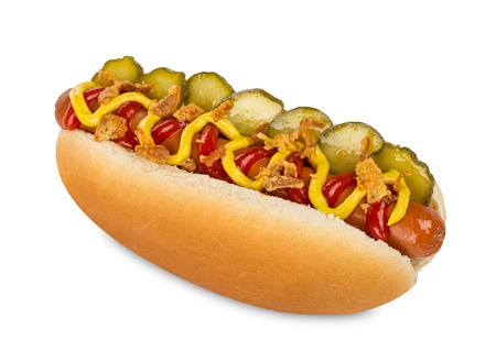 hot dog on white background Foto de archivo