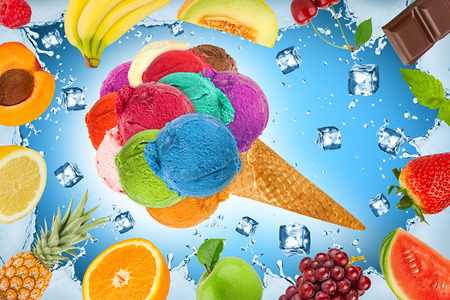 ice cream concept with ice cubes and fruits Stock Photo