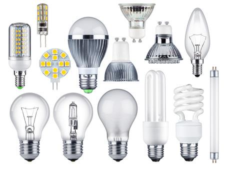 tubos fluorescentes: conjunto de diferentes bombillas Foto de archivo