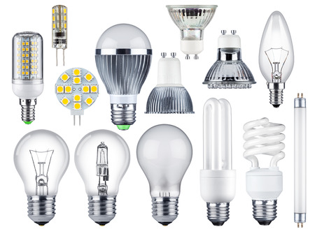set of different light bulbs Stock Photo