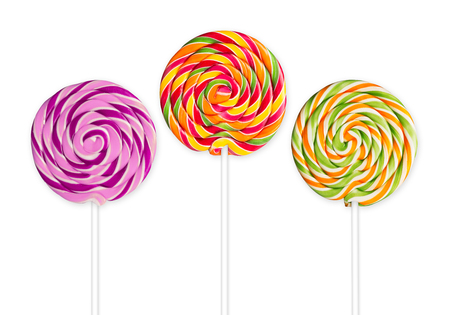 lolly pop: three lolly pops in front of white background