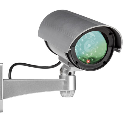 big brother spy: security camera wall mounted on white background Stock Photo