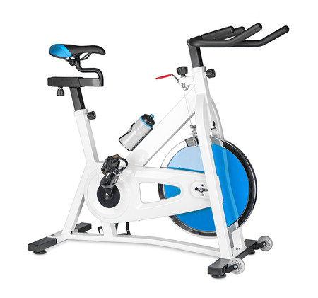 stay home work: excercise bike on white background Stock Photo