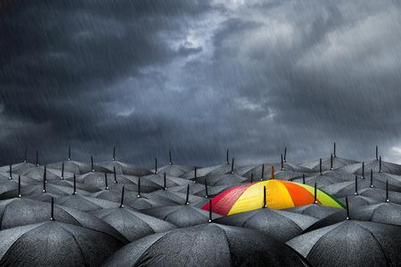 umbrella month: rainbow umbrella in mass of black umbrellas