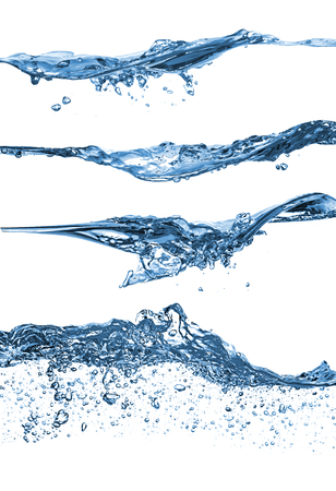 agua splash: conjunto de diferentes ondas de agua en el fondo blanco
