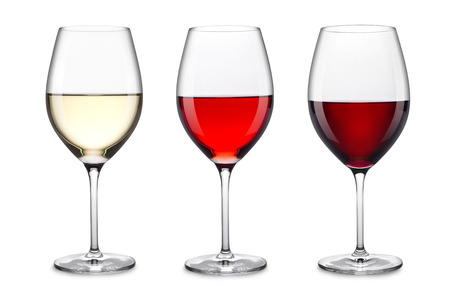 row of three wine glasses