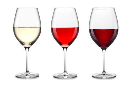 rij van drie glazen wijn