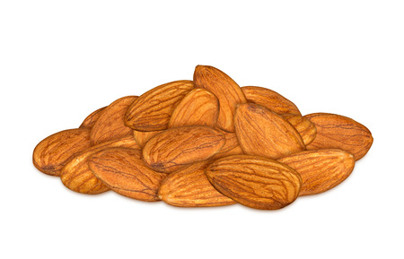 stack of almonds on white background