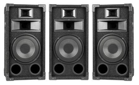 two party system: set of audio speakers from different angles