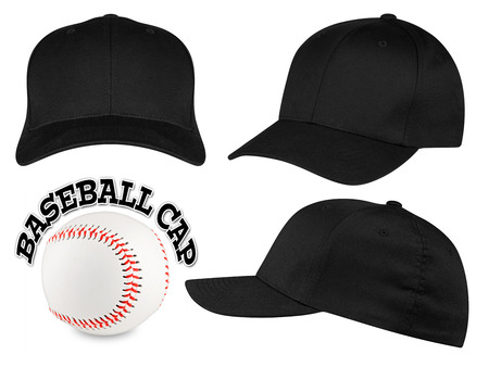 Set of black baseball caps with baseball