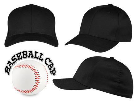 kapelusze: Zestaw czarno baseball caps z baseball Zdjęcie Seryjne