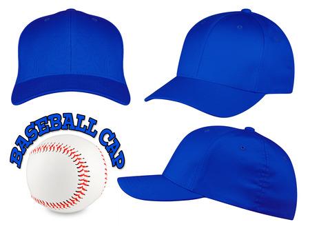 baseball cap: Set of blue baseball caps with baseball