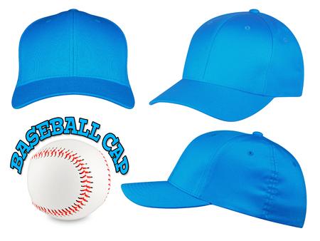 gorro: Juego de b�isbol de color azul claro con tapas de b�isbol Foto de archivo