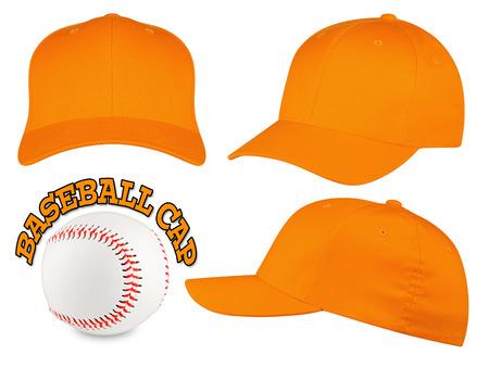 Set of orange baseball caps with baseball Reklamní fotografie