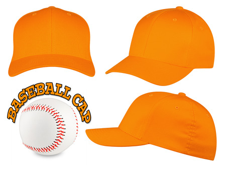 Set of orange baseball caps with baseball Standard-Bild