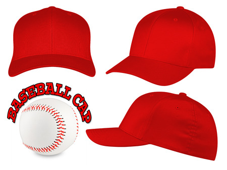Set of red baseball caps with baseball